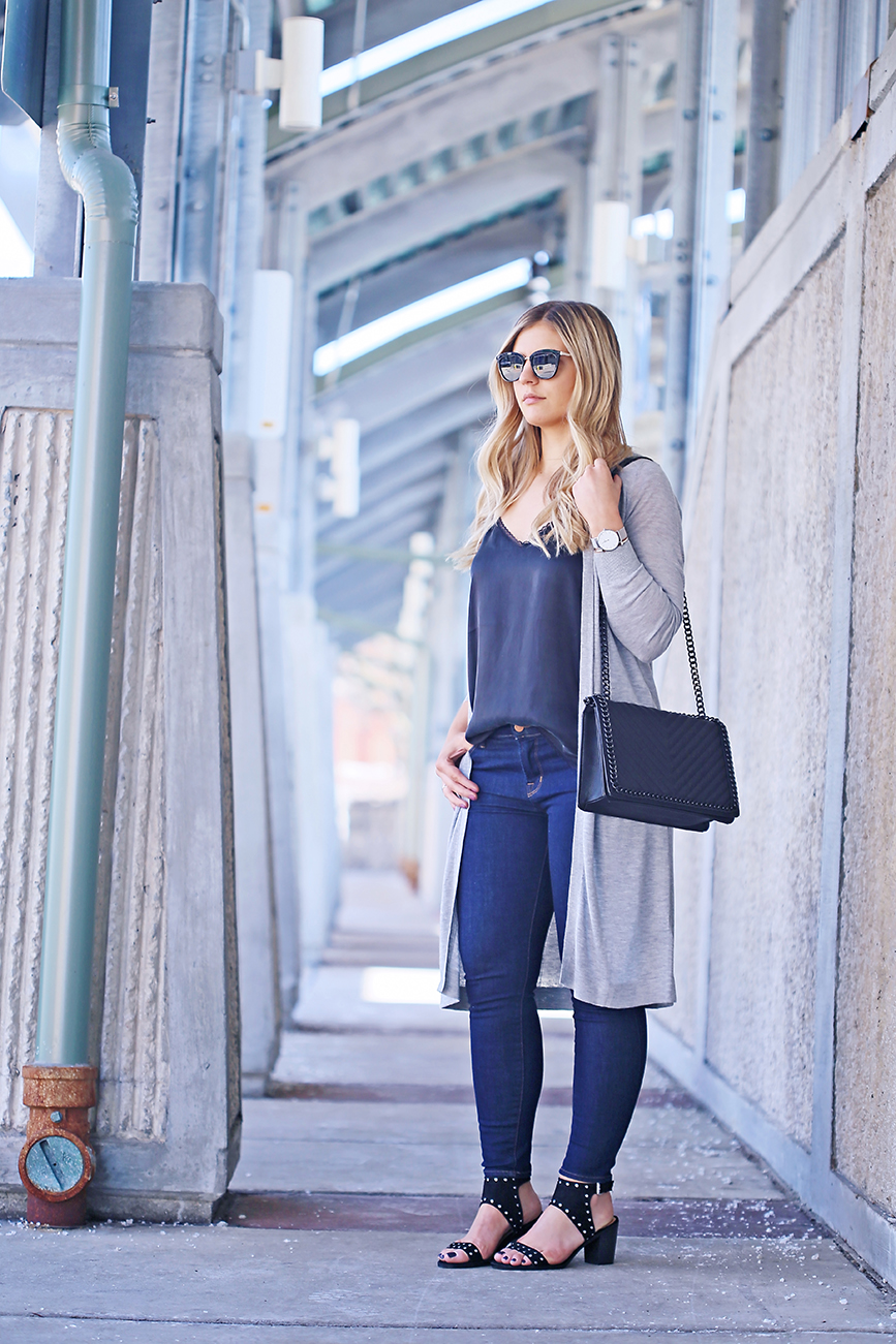 Long Gray Cardigan & Studded Sandals 1