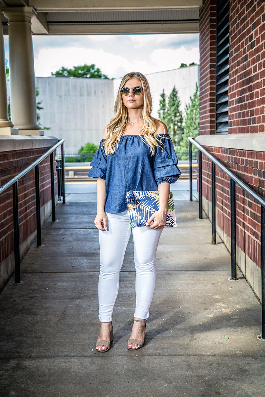 Denim Off the Shoulder Top Outfit 4