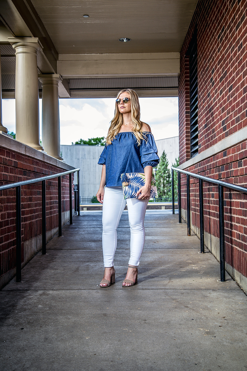 Denim Off the Shoulder Top Outfit 1