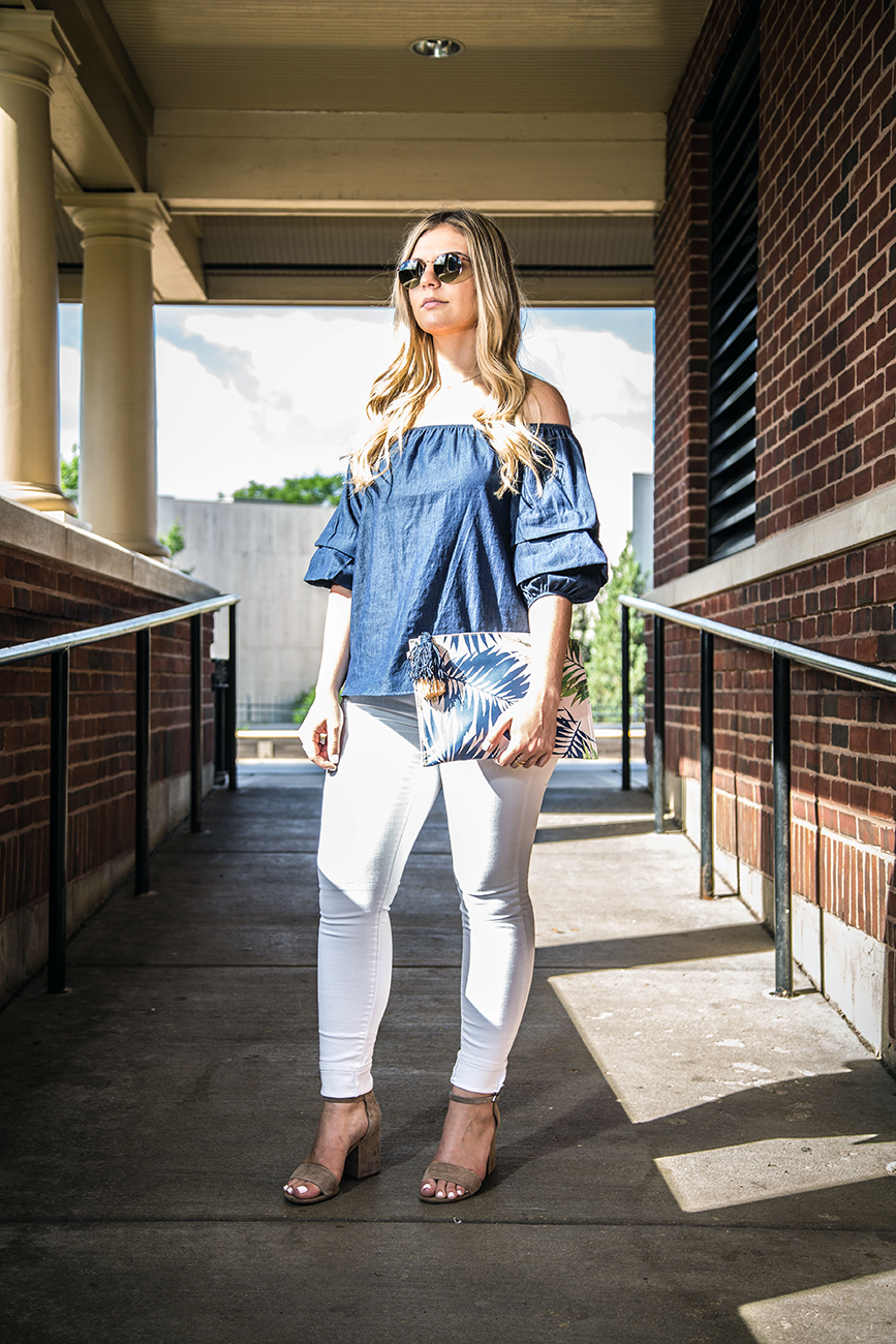 Denim Off the Shoulder Top Outfit 9