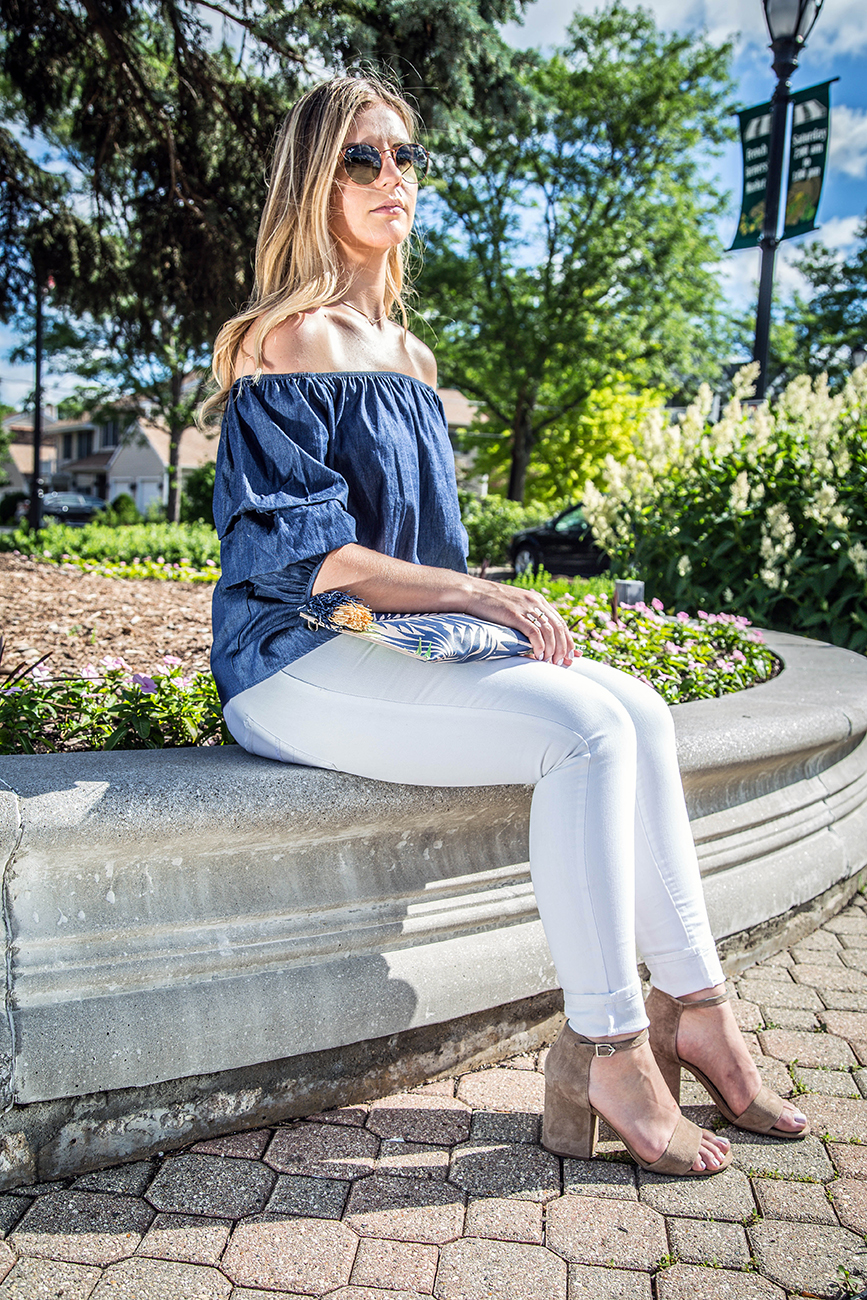 Denim Off the Shoulder Top Outfit 3