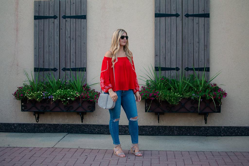 Embroidered Off the Shoulder Top 11