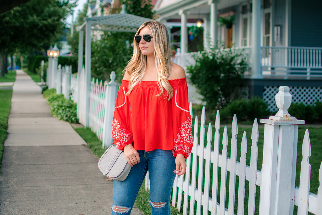 Embroidered Off the Shoulder Top 1