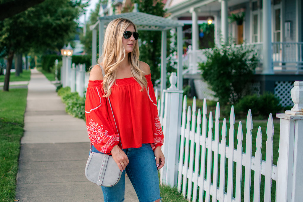 Embroidered Off the Shoulder Top 9