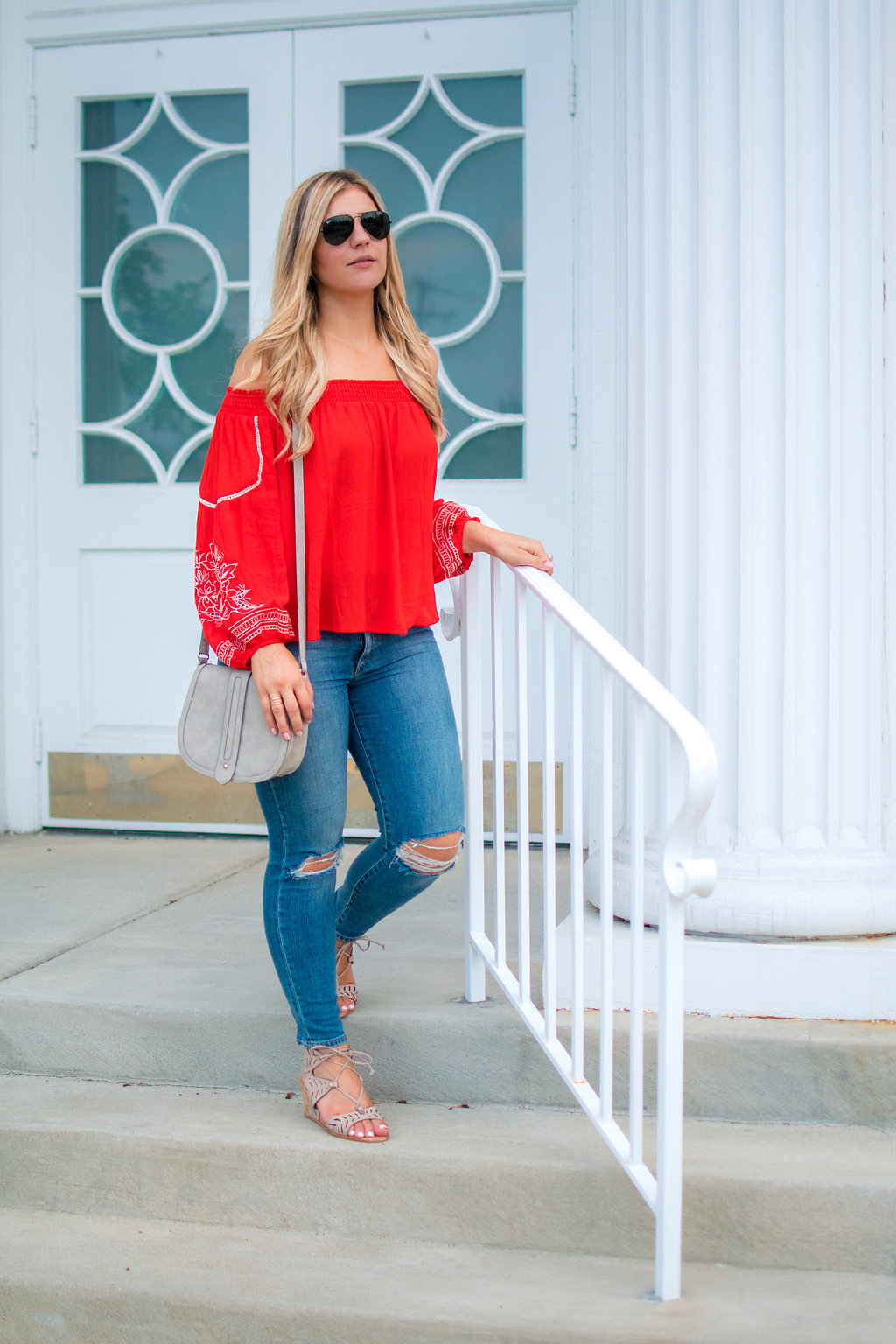 Embroidered Off the Shoulder Top 7