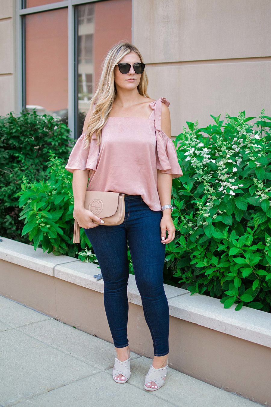 Satin Cold Shoulder Top 1