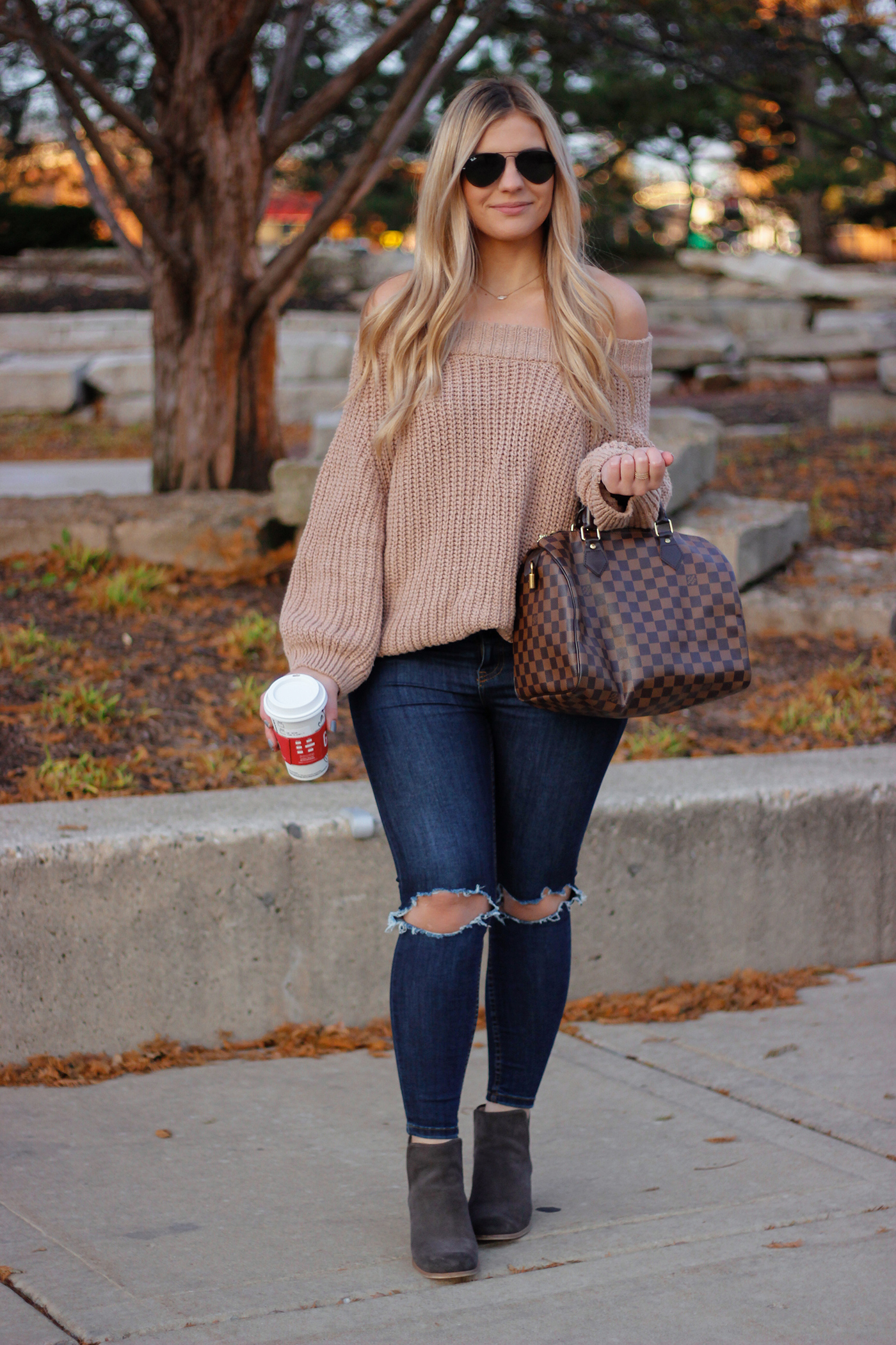 Knit Off the Shoulder Sweater 1