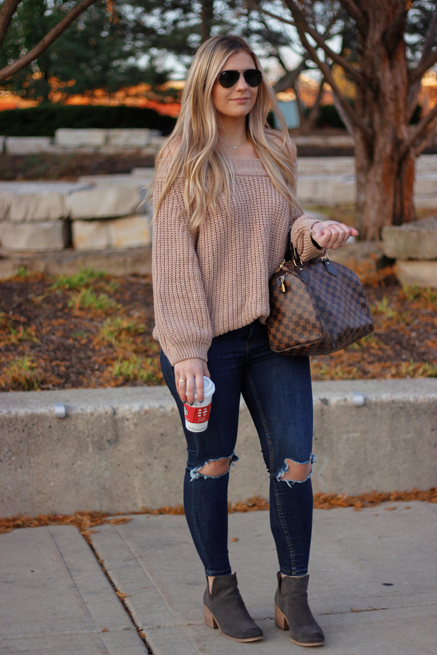 Knit Off the Shoulder Sweater 4