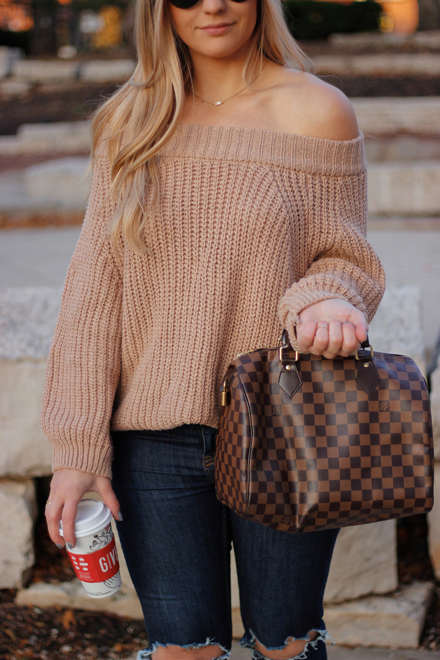 Knit Off the Shoulder Sweater 8