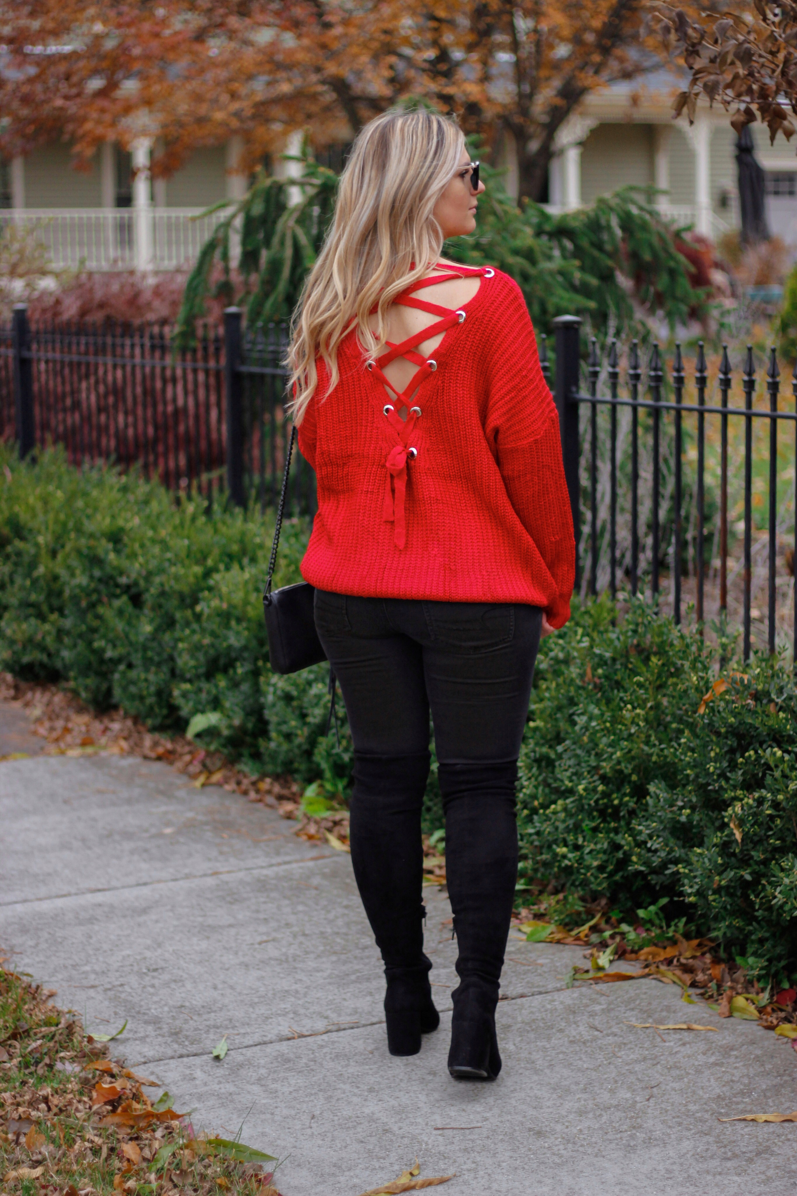 lace up back sweater 1