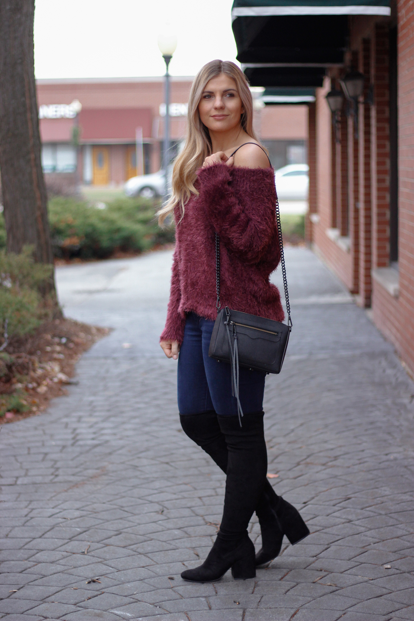 Fuzzy Off the Shoulder Sweater 1