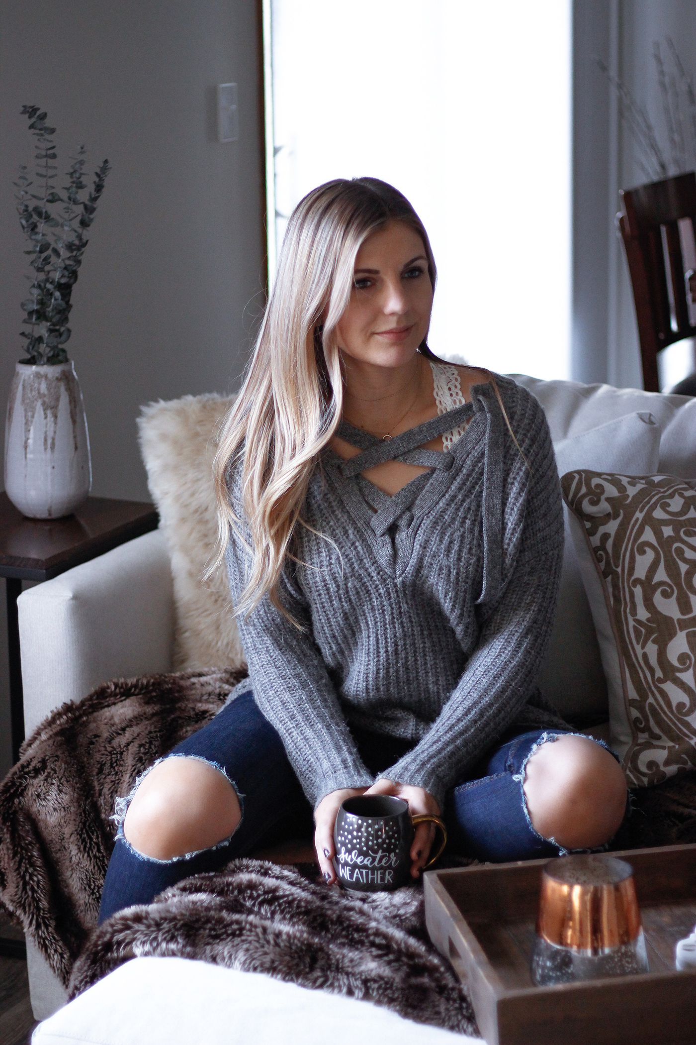 Cozy Lace Up Sweater 6