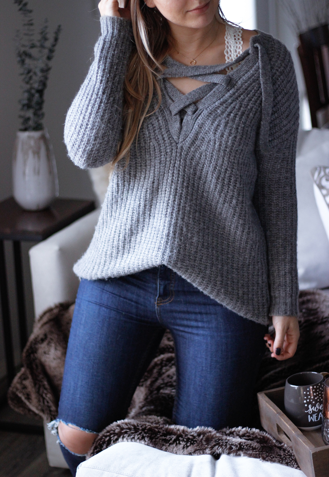Cozy Lace Up Sweater 7
