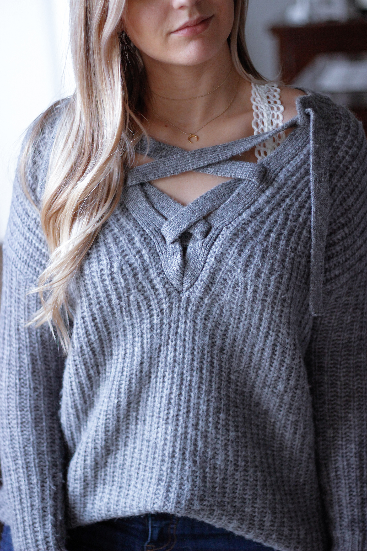 Cozy Lace Up Sweater 9